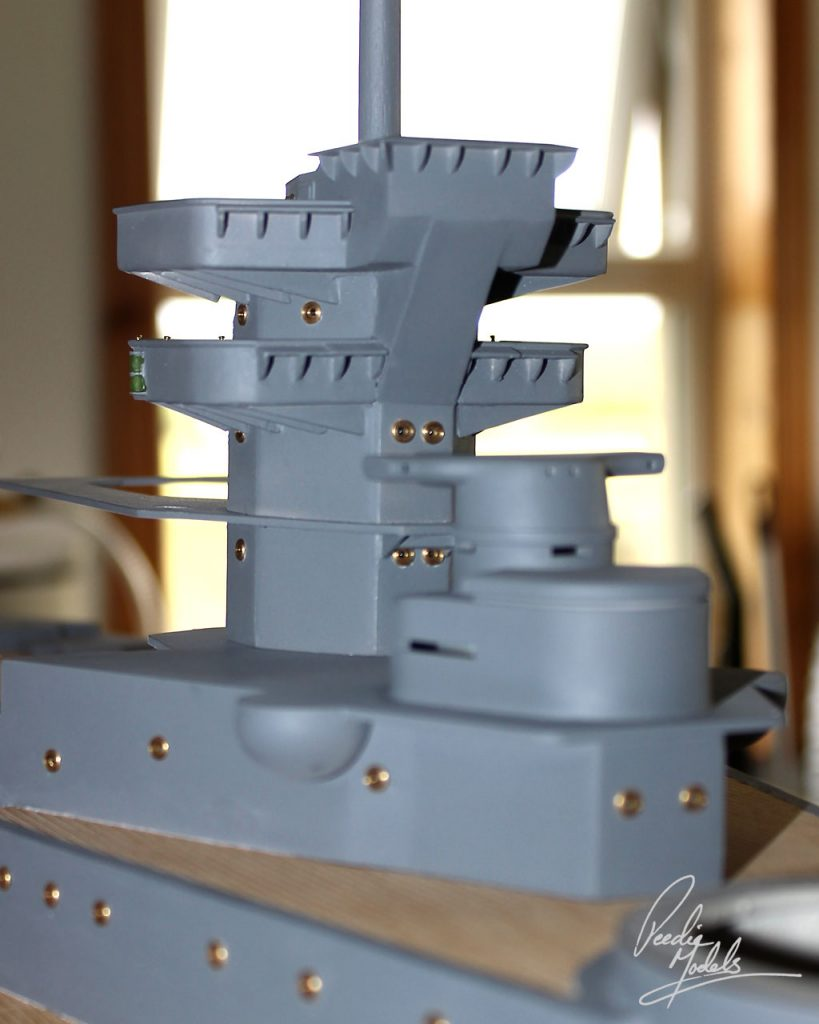 Conning tower resting in place on the ship.